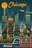Chicago Illinois - Retro Skyline (9x12 Art Print, Wall Decor Travel Poster)
