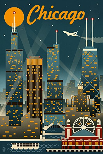 (Chicago, Illinois - Retro Skyline (12x18 SIGNED Print Master Art Print w/Certificate of Authenticity - Wall Decor Travel Poster))