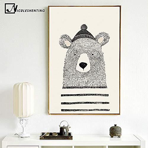 Amazon.com: Jewh (1 pecie Frameless Nordic Art Bear Fox Canvas Poster - Painting Cartoon Animal Wall Picture Print Children Baby Room Decoration (21x30cm) ...