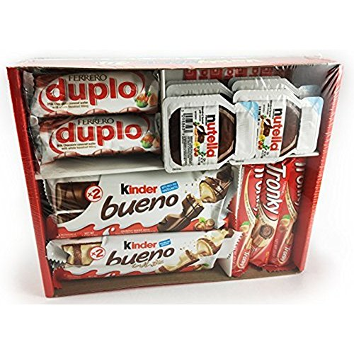 Ferrero Variety Pack 24 ct Assorted Hazelnut Chocolates & Hazelnut Spread - Kinder Bueno | Kinder Bueno White | Nutella | Tronky | Duplo