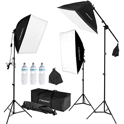 CRAPHY Professional Photo Studio Soft Box Lights Continuous Lighting Kit 3x135W 5000K Bulbs + 20''x25'' Softbox + 80'' Light Stand + Carrying Bag by CRAPHY