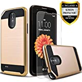LG Stylo 3 Case, LG Stylo 3 Plus Case, 2-Piece Style Hybrid Shockproof Hard Case Cover with [ Premium Screen Protector] And Circlemalls Stylus Pen (Gold)