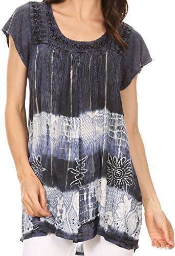 Sakkas S-4-85100 - Layleka Long Tie Dye Ombre Batik Embroidered Sequin Beaded Shirt Blouse Top - Navy - OS ()