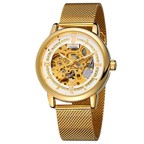 (Londony  Men's Steampunk Bronze Skeleton Self-Winding Auto Mechanical Leather Wrist Wacth Classic Retro Watch)