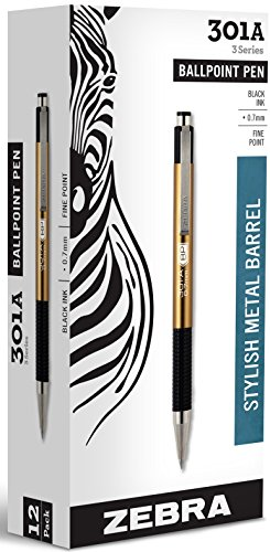 - Zebra 301A Retractable Ballpoint Pen, 0.7mm, Gold Barrel, Black Ink, 12 Pack (27540)