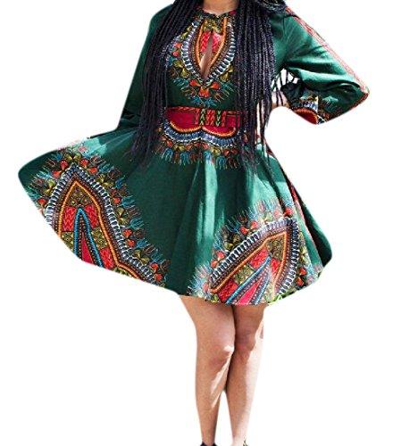 Confortables Femmes Grande Robe Cocktail Dashiki Africaine Cru Ourlet Vert