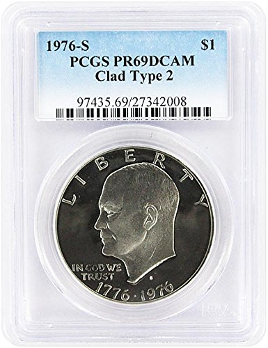 1976 S Type 2 Clad Proof Eisenhower Ike Dollar PCGS PR 69 DCAM New Blue Label (1776 1976 Dollar Coins)