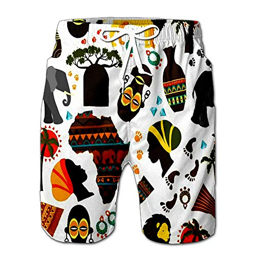 (Summer Shorts Pants Africa Baobab and Nationality Tribe Mask Aborigine Track Fauna Flora Elepha Mens Golf Sports Shorts S)