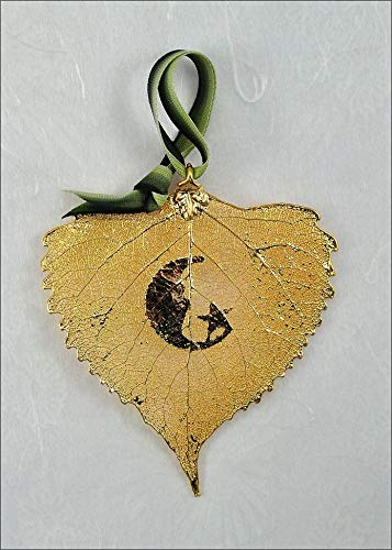 Moon Silhouette on Real Cottonwood Leaf in 24K Gold Ornament, Real Leaf Silhouette | Moon - Cottonwood Leaf 24k Gold