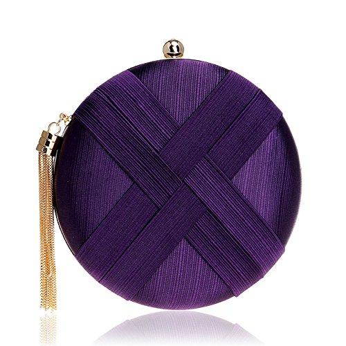 Gold Party Tassel Purse Bag Shoulder Purple Wedding Ybriefbag Color Handbag Evening Cocktail Tone Metal Women's Aluminum Clutch 0PW6H