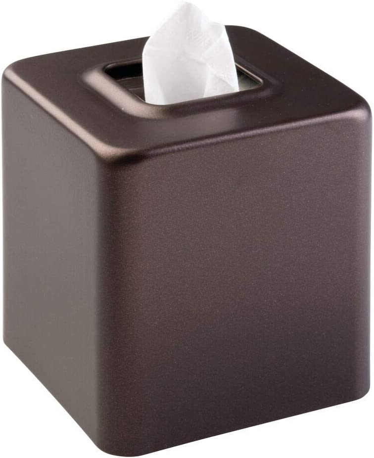 mDesign Steel Facial Tissue Box Cover/Holder for Bathroom Vanity Countertops - Bronze