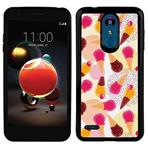 TPU Phone Case Compatible for LG K8 2018 5in Ice Cream Sweet Taste of Summer Theme Chocolate and Fruity Flavor Cherries Circle Sprinkles Multicolor