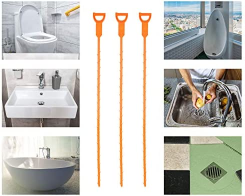 Drain Hair Catcher,Drain Clog Remover,Hair Catcher Shower Drain,Toilet Snake for Sewer Kitchen Sink Bathroom Tub Toilet Clogged Drains 3pcs