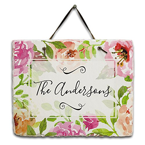 Personalized Floral Watercolor Slate Plaque - floral wall plaque