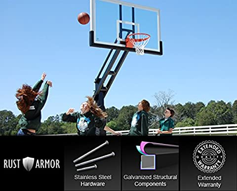 Pro Dunk Platinum With Rust Armor: In-Ground Adjustable Outdoor Basketball Goal Hoop with Regulation-Sized 72 Inch Glass Backboard Adjustable from 5.5 Feet for Home Courts and Institutions