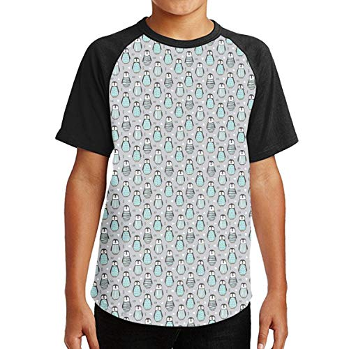FDRT48FGEDC Penguins with Sweater Geometric Short Sleeve Clothing Classic Crew Neck Tee for Teenagers Juniors Clothing Tops Short Sleeve T-Shirt Clothes for Teenage Black