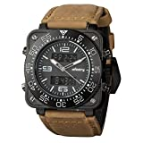 INFANTRY Mens Big Face GENUINE LEATHER Multifunction Military Army Sport Wrist Watch