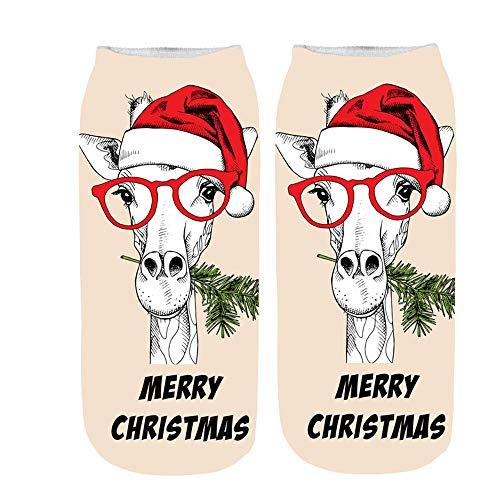 Christmas Gift Socks,Christmas Cotton Comfortable Sock Slippers Short Print Ankle Thanksgiving Day Socks ☀️ -