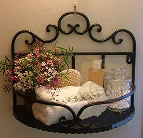Garden Style Wrought Iron Bathroom Shelves Storage Rack Wall-mounted Shelves