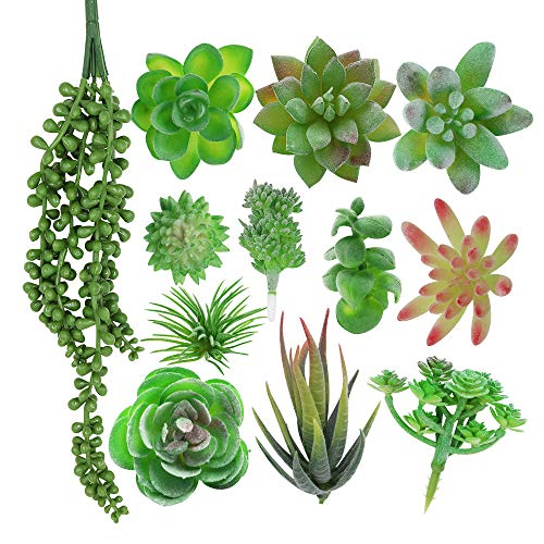 XiaZ 12 Pcs Artificial Succulent Flowers Plants, Assorted Fake Succulents with Flocked Green Stems, Pearls, Cactus Faux Plant for Floral Arrangements, Home Indoor Wall Garden DIY Decorations