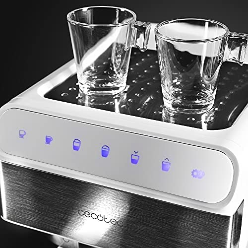Cecotec Machine à café Semi-Automatique Power Instant-ccino 20 Touch Serie Bianca. 20 Bars de Pression, 1.4 L, 6 Fonctions, Chauffage par Thermoblock, Contrôle Tactile, Réservoir de Lait, 1350 W.