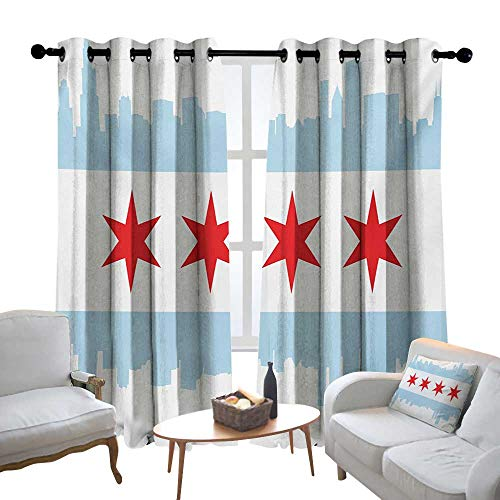 Print Curtains for Bedroom Curtain Chicago Skyline,City of Chicago Flag with High Rise Buildings Scenery National,Red White Baby Blue,Grommet Window Treatment Set for Living Room 84