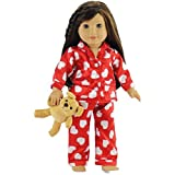 18 Inch Doll Clothes Red & White Heart Pajamas with Teddy Bear   Fits American Girl Dolls  Gift-boxed!