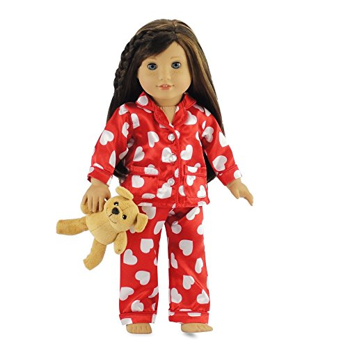 18 Inch Doll Clothes Red & White Heart Pajamas with Teddy Bear | Fits American Girl Dolls |Gift-boxed!
