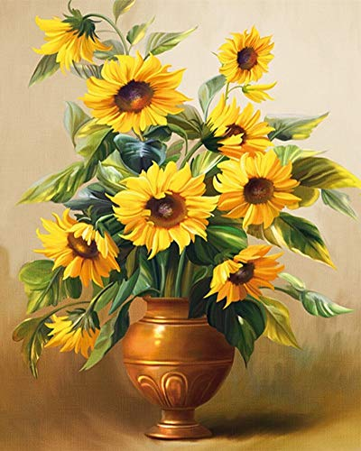 JOLOMOY Paint by Numbers Kits for Adults, DIY Digital Oil Painting by Number for Kids Beginner - Sunflowers in The Gold Vase 16X20 inch Number Painting (Framed)