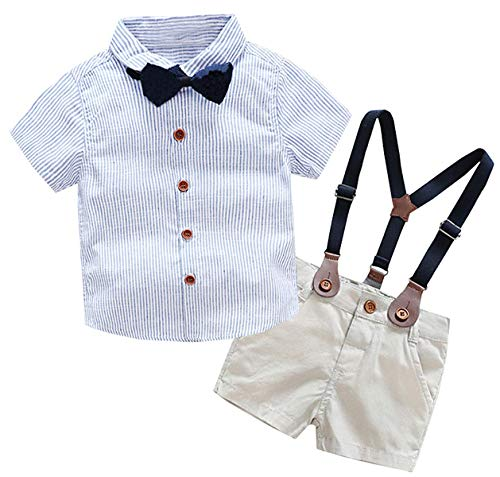 Baby Boys Dress Clothes, Toddlers Short Sleeves Button Down Vertical Stripes Dress Shirt with Bowtie + Suspender Shorts Set Summer Gentlemen Outfit, Blue, 3-4 Years/Tag 120]()