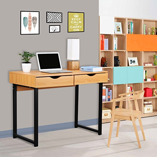 Office Steel Writing Desk (LANGRIA Computer Desk Modern Stylish Home Office Study Table Writing Desk Workstation with 2 Drawers, Pear Wood Color)