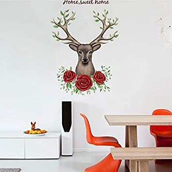Jmhwall rose flower deer 3d wall stickers for living room bedroom kids room vinyl pvc wall
