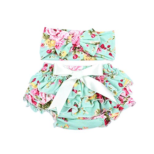 Hollyhorse 100% Cotton baby ruffle bloomers Diaper Covers in a Variety of colors & sizes (S(0-6m), green)