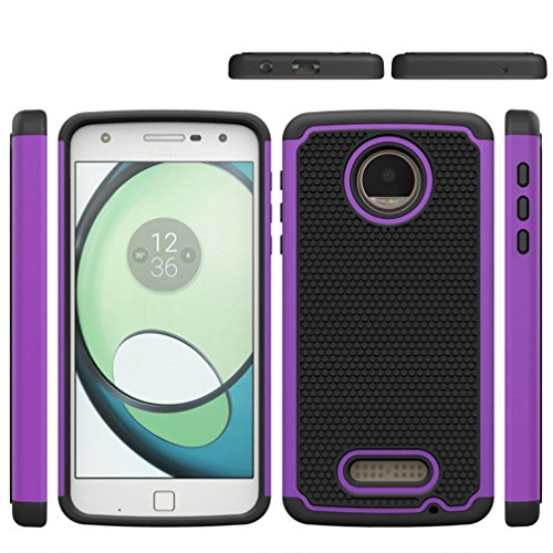 Aobiny Mobile Phone Case Hard Soft Rubber Cell Phone Case Back Hybrid over For Moto z Play (Purple) Purples Shape Tpu Rubber
