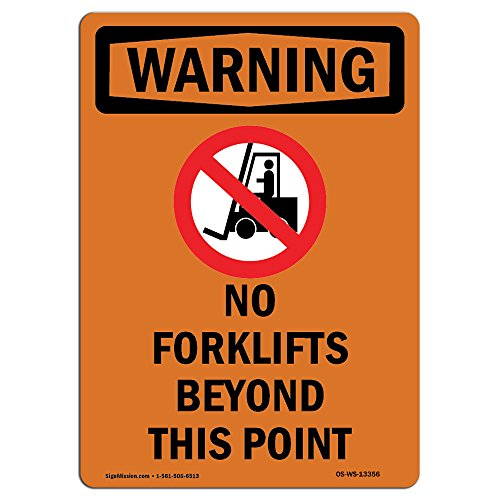 OSHA Warning Sign - No Forklifts Beyond with Symbol | Choose from: Aluminum, Rigid Plastic or Vinyl Label Decal | Protect Your Business, Construction Site, Warehouse & Shop Area |  Made in The USA from SignMission