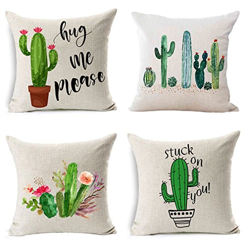 PSDWETS Home Decor Summer Style Cactus Hug Me Please Pillow Covers Set of 4 Cotton Linen Throw Pillow Case Cushion Cover 18 X 18,Funny Gifts]()