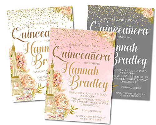 Paris Quinceanera Birthday Party Invitations With Envelopes, French Parisian Quinceanera Decor for $<!--$18.00-->