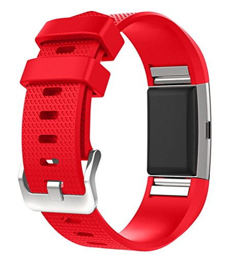 For Fitbit Charge 2 Bands, FreshZone Accessories Replacement Silicone Watch Band Wristband for Fitbit Charge 2 (No Tracker) (Red)