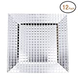 FANTASTIC :)  Square 13 Inch Plastic Charger Plates with Eletroplating Finish (12, Grid Silver)