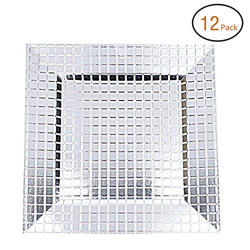 FANTASTIC :)  Square 13 Inch Plastic Charger Plates with Eletroplating Finish (12, Grid Silver) by FANTASTIC :)
