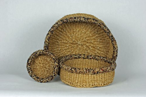 Maisha Beautiful set of 3 Handwoven Sisal Basket with a Glass Beaded Rim, 100% Organic & Earth Friendly, small 4.5 inches,medium 6 inches,large is 8 inches in diameter, Fair Trade, Africa (Beautiful Baskets)