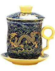 4pcs Set of Chinese Dragon Pattern Tea-Mug with Strainer Infuser and Lid and Saucer Ceramic Tea Mug Convenient System Chinese Porcelain Personal Tea Cup,13.5oz(400ml)/4 Colors …