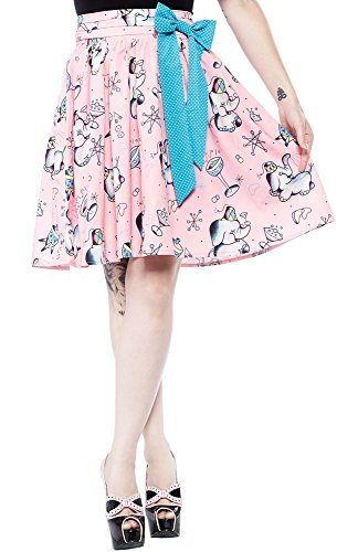 Sourpuss Pink Elephant Swing Skirt L