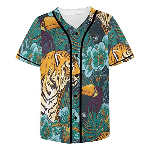 InterestPrint Men's Tigers and Birds Baseball Jersey Button Down T Shirts Plain Short Sleeve XL
