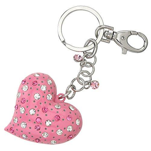 Bling Heart Bling (Bling Heart Gem Style Keychain / Key Ring - Pink)