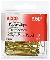ACCO Gold Tone Jumbo Paper Clips, Smooth Finish, Steel Wire, 20 Sheet Capacity, 50 Clips per Box (A7072532)