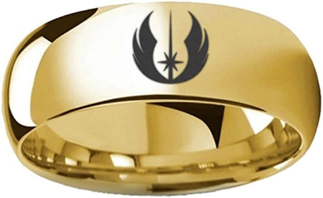 Thorsten Star Wars Jedi Order Symbol Design Ring Polished Gold Plated Tungsten Domed Style 8mm Wide Custom Personalized Inside Engraved from Roy Rose Jewelry