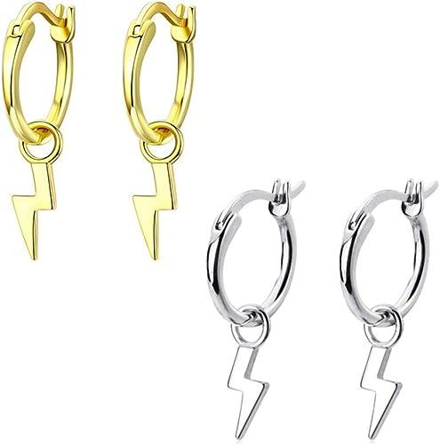 Y2K Gold Lightning Bolt Huggie Lever Back Hoop Earrings Lightning Earrings Small Hoops Gift Idea