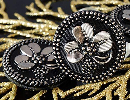 (1pc Handmade Czech Glass Button Large Silver Shamrock St Patrick Day Flower Black Luck Trefoil Size 12, 27mm)