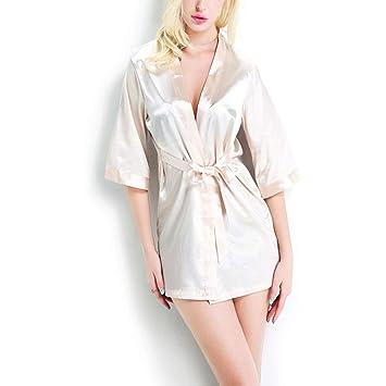 Kanqingqing Ropa de Dormir para Pijamas para Mujeres Kimono para Mujer Bata de satén Camisas de ...